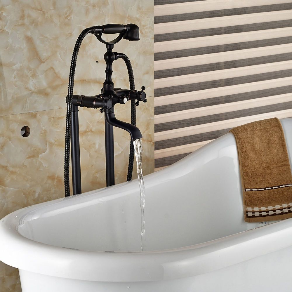 Oil Rubbed Bronze Free Standing Tub Faucet Dual Handles Tub Filler W Brass Hand Freestanding Tub Faucet Bronze Bathtub Faucet Tub Faucet