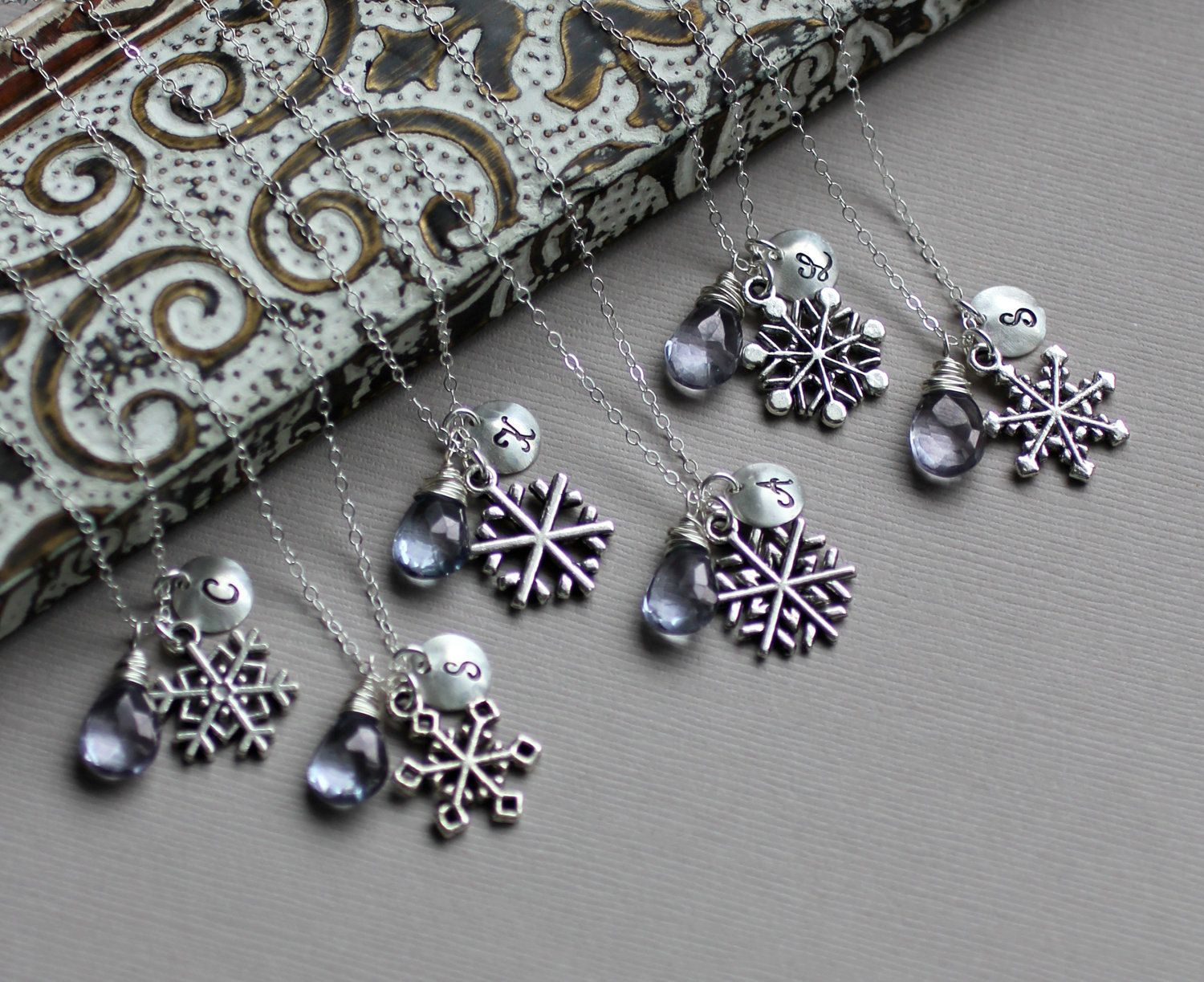 Snowflake Necklace GIFT SET of Six - Initial, Custom Stone, Silver Snowflake Charm - Winter Wedding - Bridesmaid Necklace Set. $228.00, via Etsy.