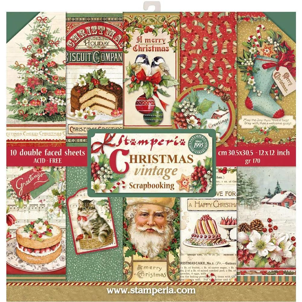 Stamperia Christmas Vintage Double Sided 12x12 Paper Pad Christmas Scrapbook Paper Christmas Scrapbook Scrapbook Collection