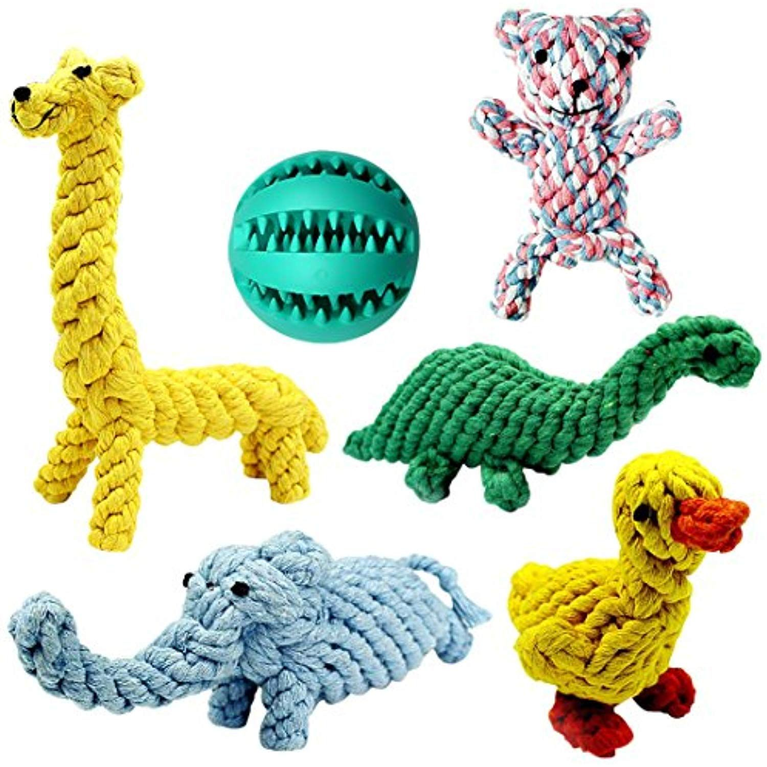 Achivy 6 Piece Animal Design Cotton Rope Dog Toys With Puppy Pet