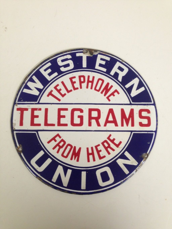 Western Union Sign Telephone Sign Porcelain Sign Hubcap Ebay