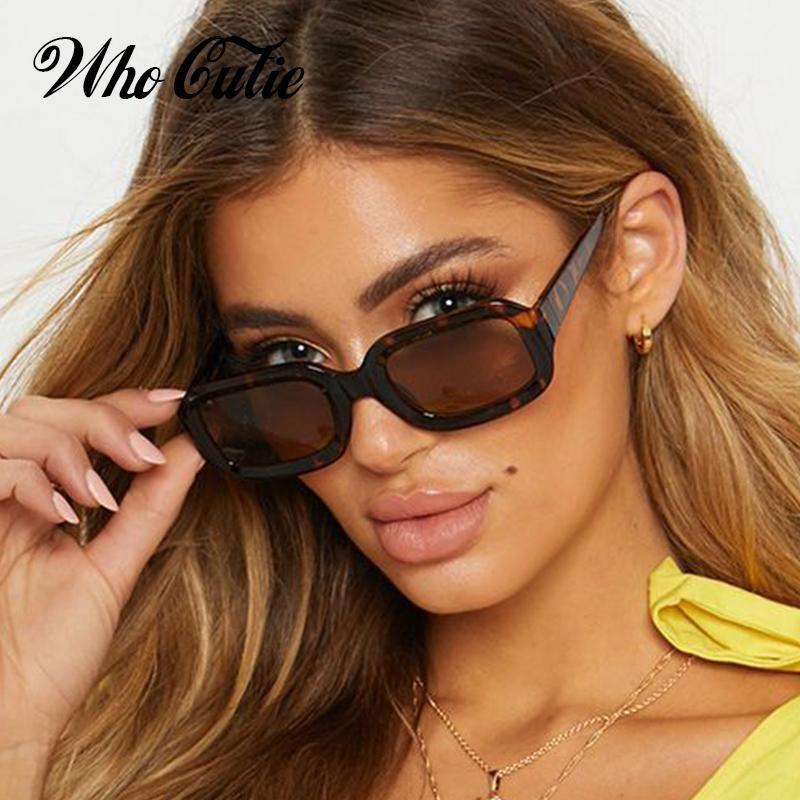 9581669c429a Who Cutie Brand Oversized Rectangular Sunglasses Women Retro Thick Fra –  FuzWeb