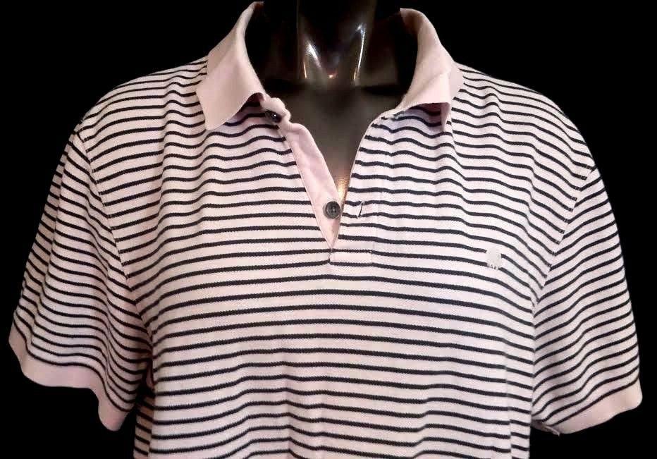 Banana Republic mens polo short sleeve shirt pink blue striped silver logo XL #BananaRepublic #PoloRugby