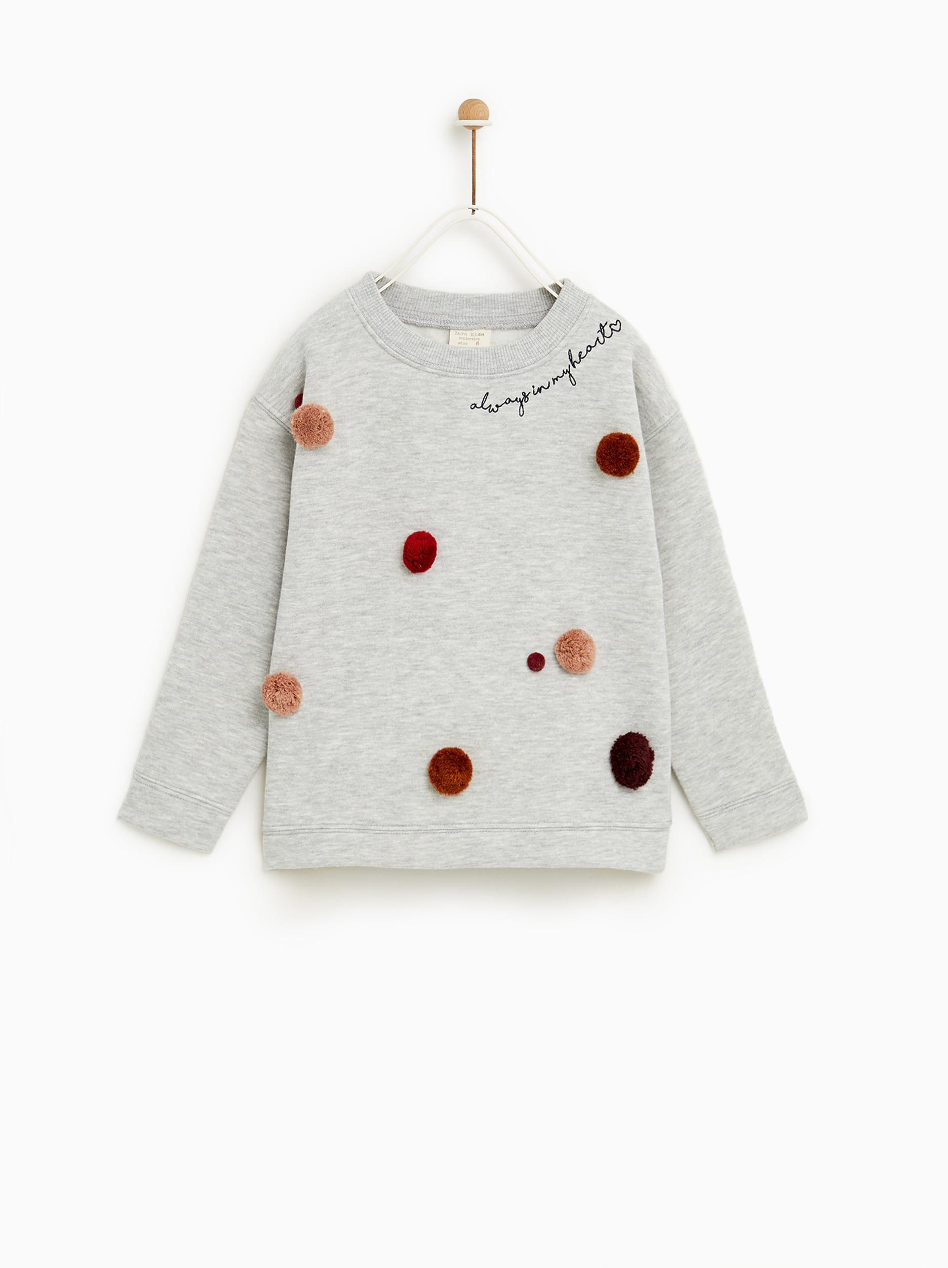 c91f5cfc52 POMPOM SWEATSHIRT | Zuzu's Style | Sweatshirts, Zara kids, Kids fashion