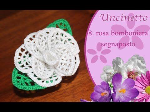 Uncinetto fiore 8 : rosa bomboniera - segnaposto - YouTube