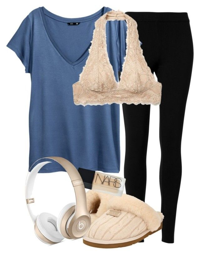 """""""Lazy Day"""" by red-velvet-n-pearls ❤ liked on Polyvore featuring Max Studio, H&M, Free People, UGG Australia and NARS Cosmetics"""