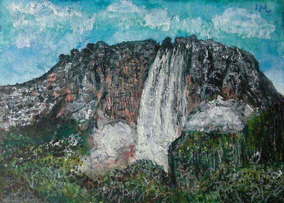Aceo original #watercolour painting 'Angel Falls' by Ian Metcalfe.  #ACEOartcards