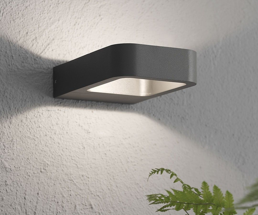 Beacon lighting commercial ledlux deta 200 lumen ip54 weatherproof beacon lighting commercial ledlux deta 200 lumen ip54 weatherproof rated exterior small wall bracket in charcoal mozeypictures Choice Image