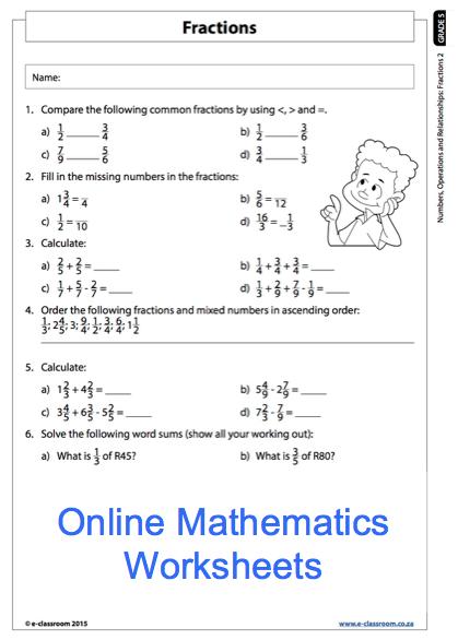 Grade 5 Online Mathematics Fractions Worksheet. For more