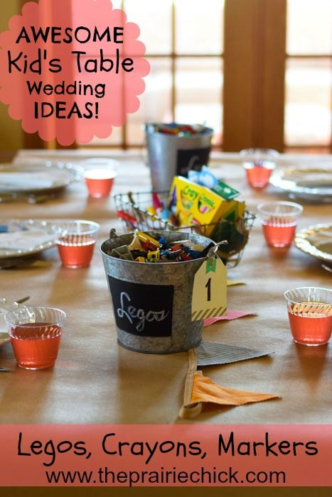 Great idea for kid's table at wedding reception! Learn more at: wwwtheprairiechick.com