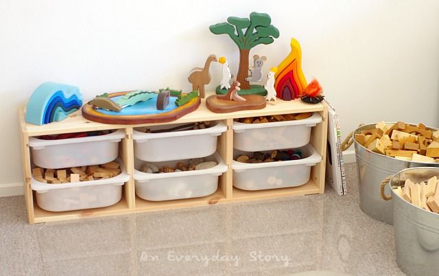 Looking for some construction area inspiration? This post has a simple block area which encourages imaginative, creative play using more than just blocks | from An Everyday Story: Inquiry-based Homeschooling