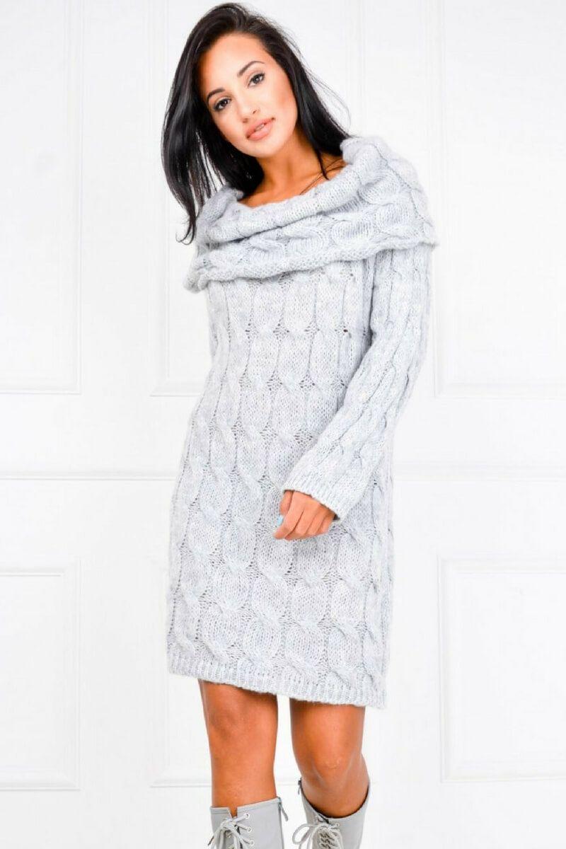 a85dab7bfa1079 Sweterkowa sukienka tunika z dzianiny z wykładanym kołnierzem, Ona Odzież  Swetry | Sukienki.shop