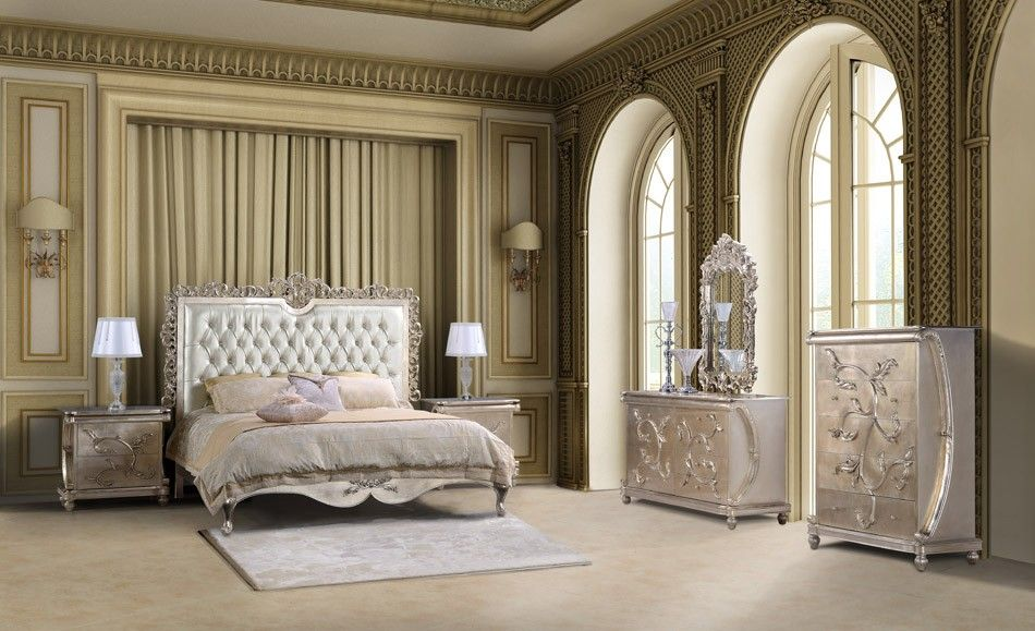 Hd 13005 Homey Design Pearl White Finish Bedroom Set Victorian European Classic Design French Bedroom