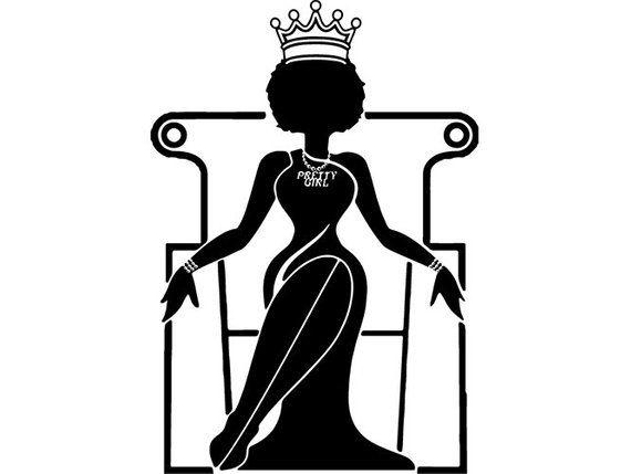 Black Woman Nubian Princess Queen Afro Hair Beautiful African American Female Lady Svg Eps Png Vector Clipart Digital Afro Women Black Women Art Black Women