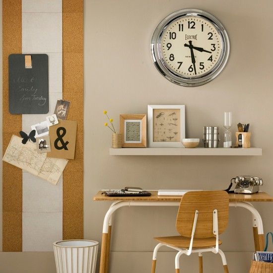 Country home office with orange chair Modern, Industrial and
