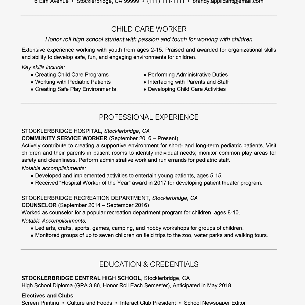 30 Child Care Resume Examples Resume summary examples