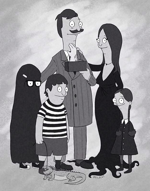 bobs burgers halloween addams family cartoons cross overs mash ups holy shit louise as wednesday is perfection