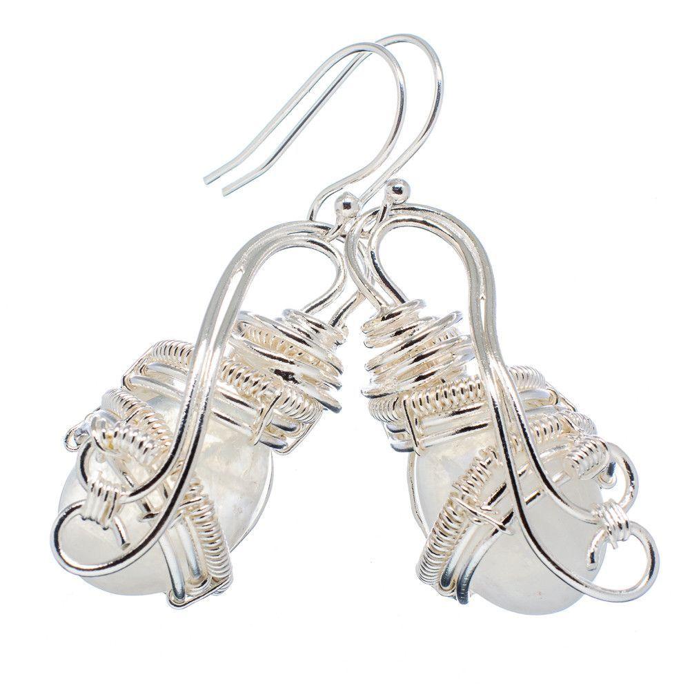"""Rainbow Moonstone 925 Sterling Silver Earrings 2"""" EARR327547"""