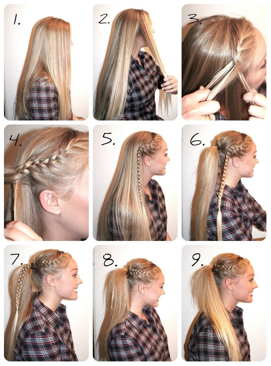 High Pony With Braid This Is An Easy Way To Dress Up A Simple Pony Great For A Day When You Have No Ti Sporty Hairstyles Easy Hairstyles Volleyball Hairstyles