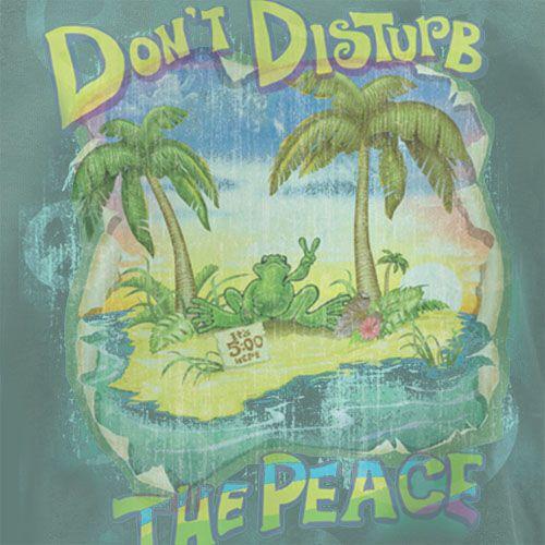 Peace Frogs Adult Don't Disturb The Peace Garment Dye Short Sleeve T-Shirt, Garment Dyed Short Sleeve T-Shirts: Peace Frogs