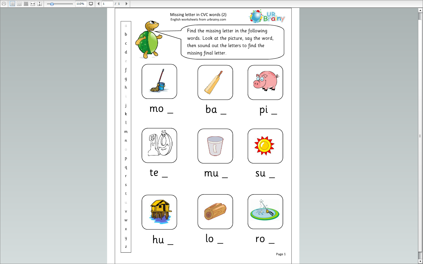 Missing Letters Cvc Words 2 English Worksheets Amp More Kg
