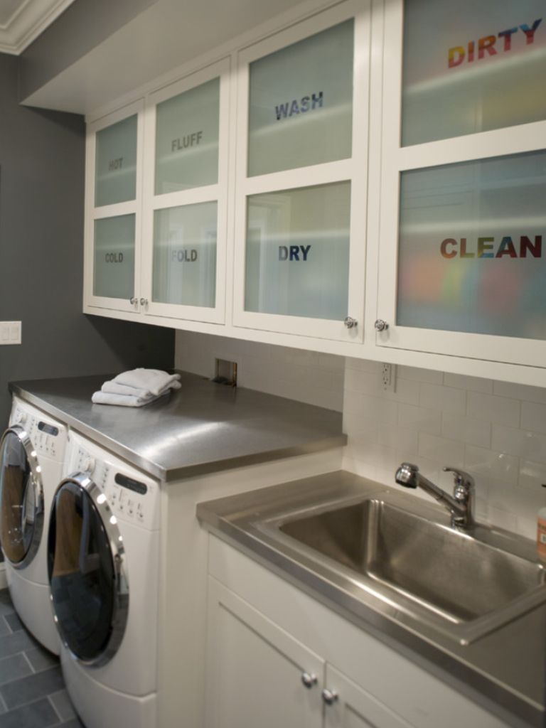 Cool idea for laundry room cupboards towels soap softener etc
