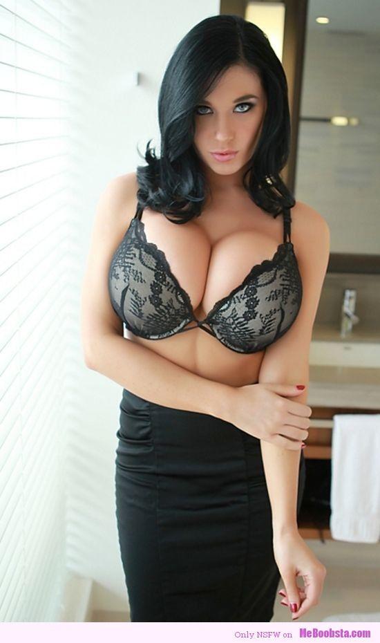 brunette leather lingerie Big tit