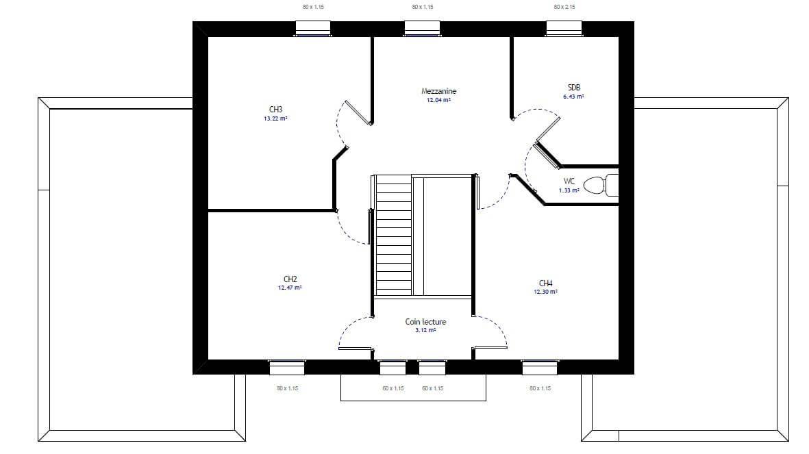 Plan 2 de la maison individuelle Habitat Concept 31 ETAGE A MODIFIER