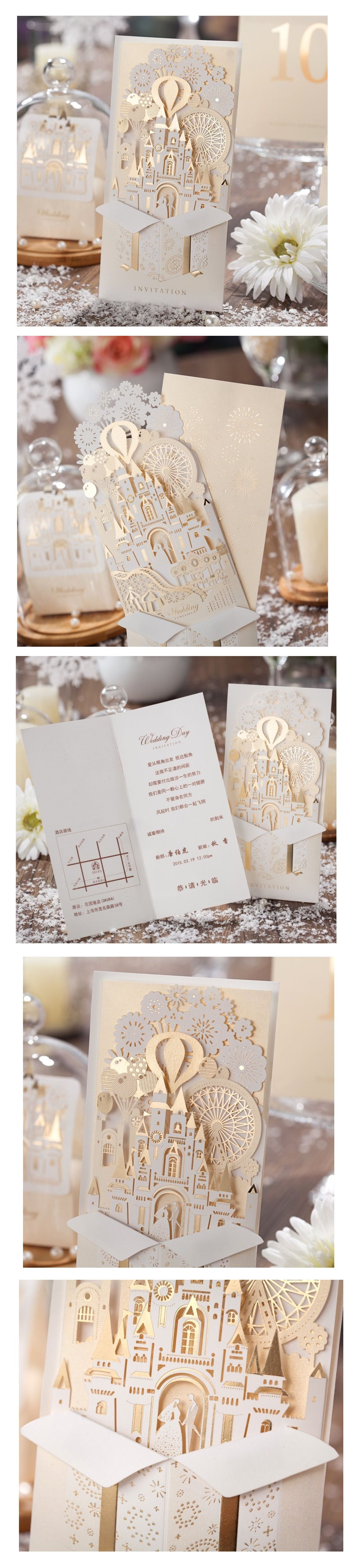 3D Laser Cut Gold Wedding Invitations 50 Piece Set | Pinterest ...