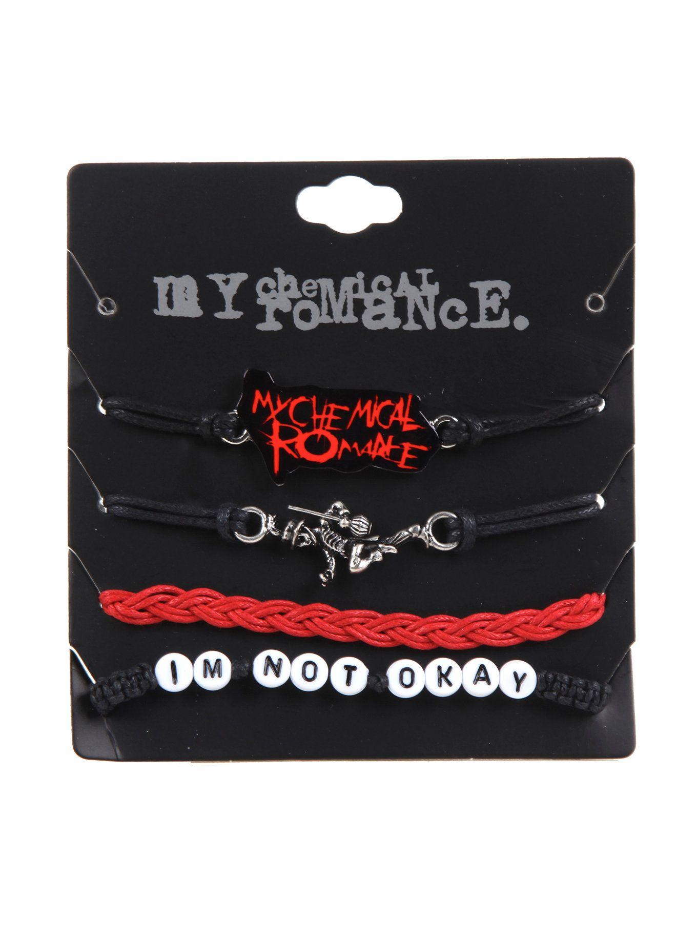 MY CHEMICAL ROMANCE CORD BRACELET SET | Cord bracelet set with My Chemical Romance themed designs.