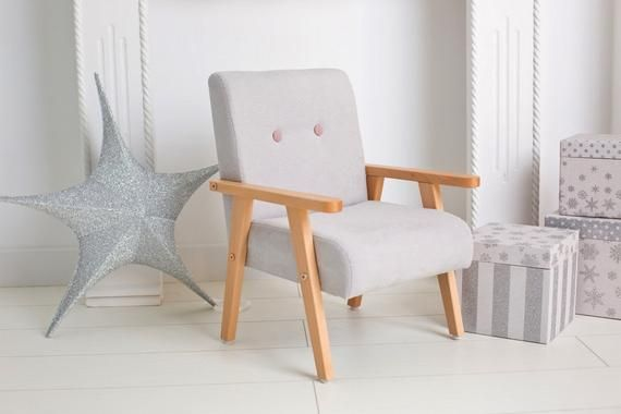 Small light grey armchair for childrens room, fabric ...
