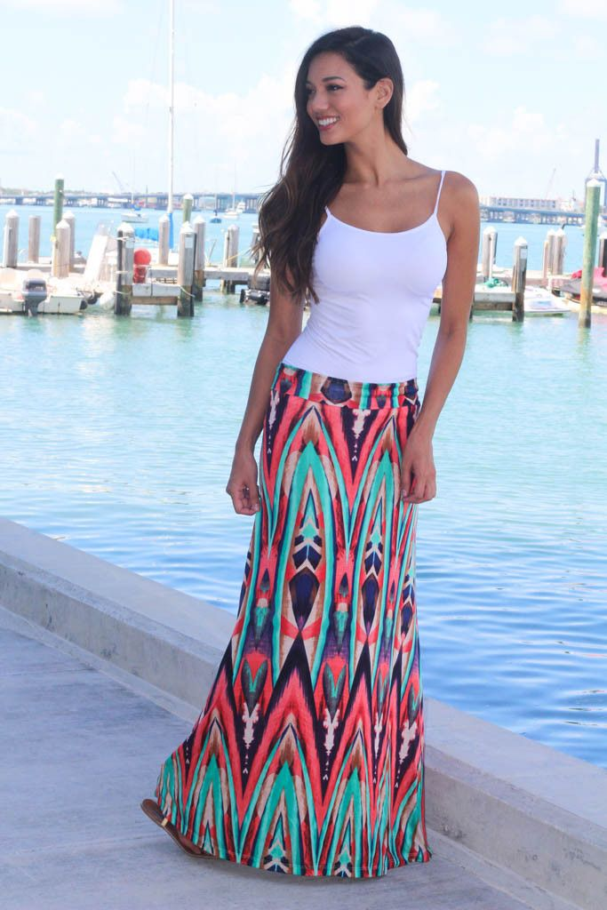 ab308be52 Coral and Mint Printed Maxi Skirt | Day-to-Day Wear | Printed maxi ...