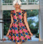 Ankara Kleid afrikanischen Print Kleid Dutch Wax Print Sommerkleid Cocktailkleid Damenkleid Partykleid Ankara Stile Kitenge Kleider #ankarastil