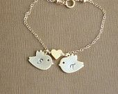 Double Heart Anklet Custom Initials, Gemstones and Sterling Chain. $34.00, via Etsy.