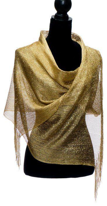 Elles Clothing Sheer Mesh Glitter Sparkle Shawl Wrap Fringe