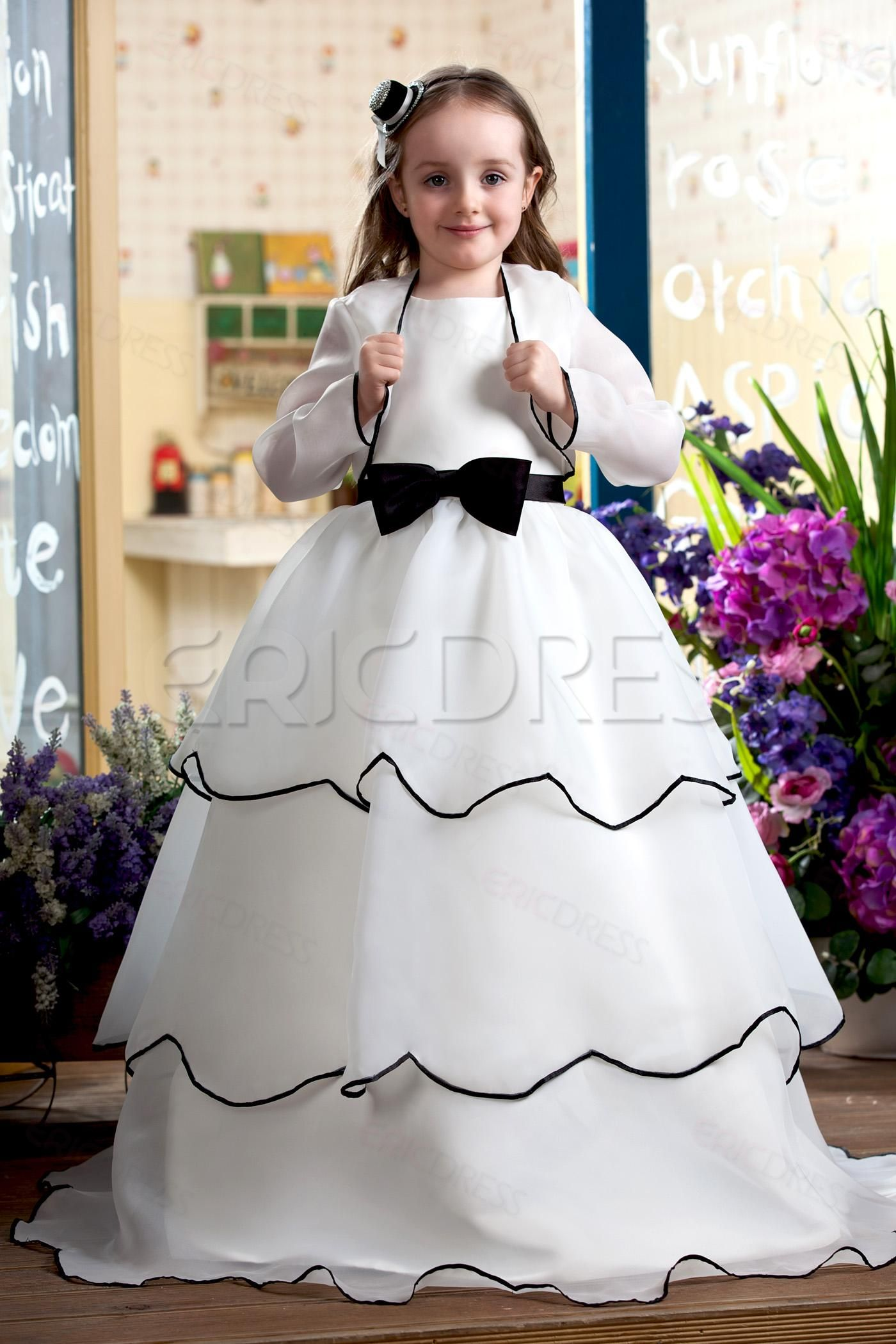 ec4b08e9c7e Classy A-Line Sash and Bow Floor Length Flower Girl Dress With Jacket/Shawl  White Flower Girl Dresses- ericdress.com 10417619