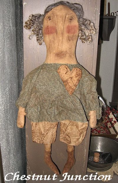 $1.99 Edith EPATTERN...primitive country cloth doll by chestnut junction