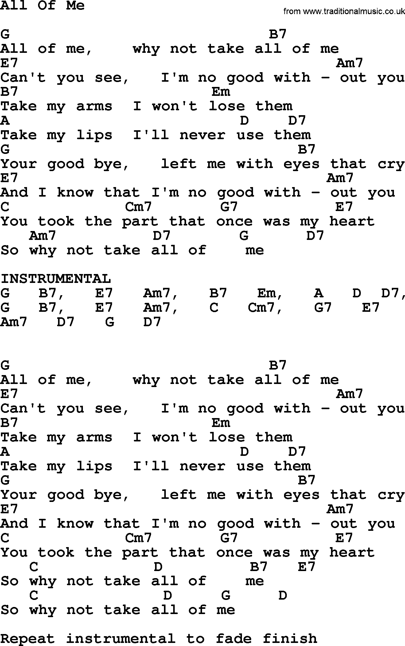 all of me chords - 736×1173