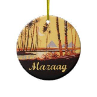 """Mazaag Vintage Day: """"Mazaag"""" is an Arabic word expressing pleasure. This design is of the Pyramids by the Nile River in Cairo, Egypt (Middle Eastern Arab Designs - Home Decor - Ornaments)"""