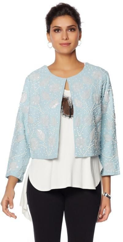 LaBellum Hillary Scott LaBellum by Hillary Scott Embroidered Canvas Jacket