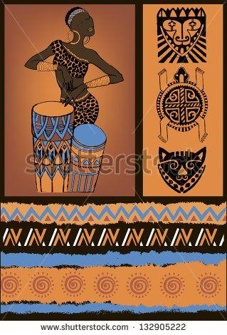Africa Stock Vektorgrafiken Clip Art Vektorgrafiken Afrikanische Gemalde Kunst Ideen Afrikanische Muster