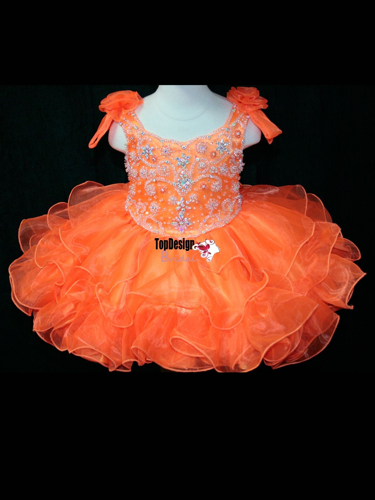 Infant toddle kids mini party pageant dress birthday cupcake dance ball gowns