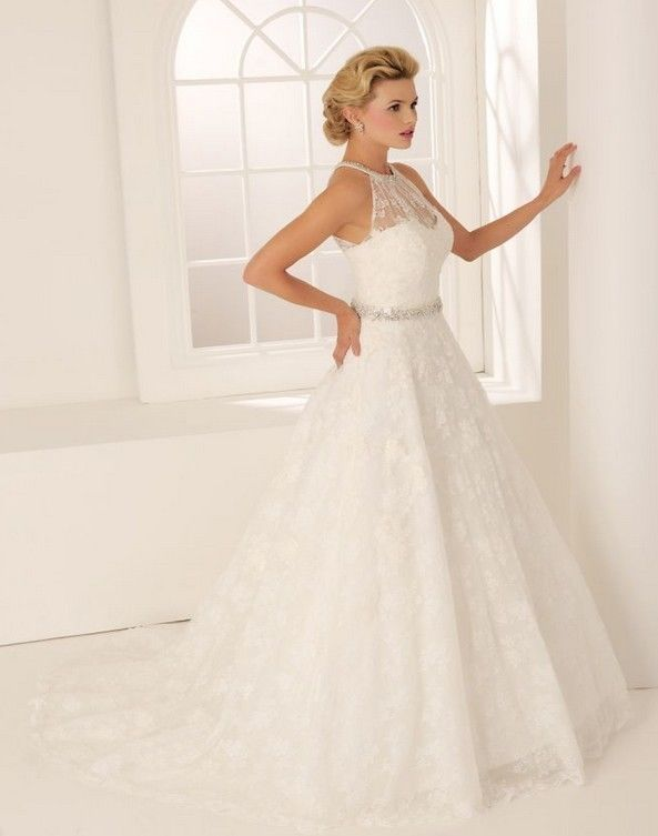 Antique lace wedding dress white or ivory high neck A-line Cathedral ...