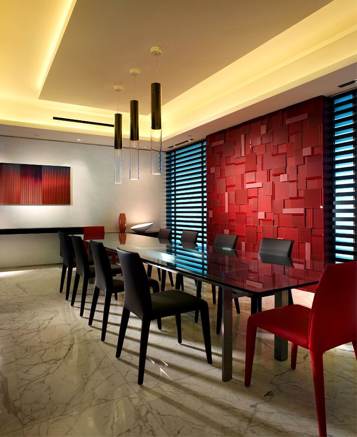 Contemporary Modern Retro Red Dining Room By Pepe Calderin Heikkil Design Love The Bright Wall