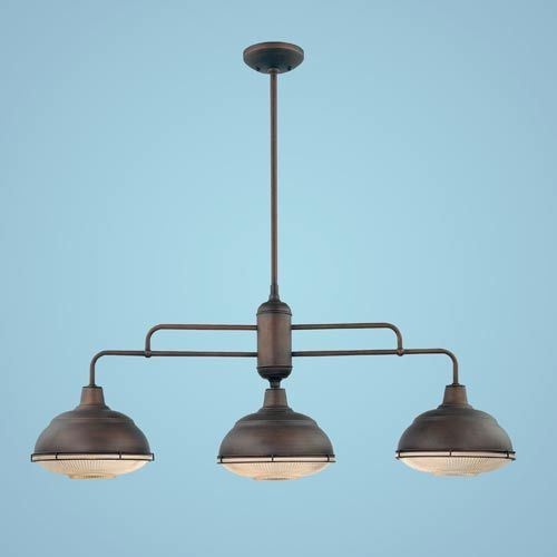 Neo Industrial Rubbed Bronze Three Light Island Pendant With Clear Crosscut Glass Millenni $250  sc 1 st  Pinterest & Millennium Lighting Neo-Industrial Rubbed Bronze Three-Light Island ...
