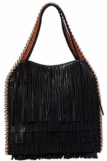 Buddha Gracie Black Fringe Handbag