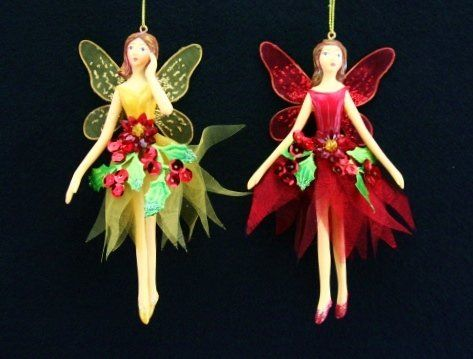 Gisela Graham - Red and Gold Poinsettia Flower Fairy Hanging ...