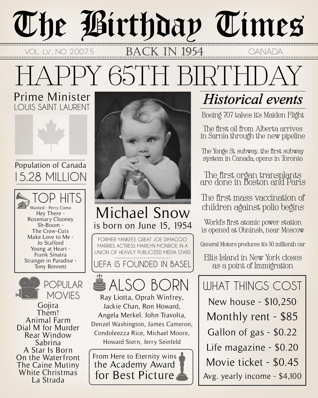65th Newspaper Birthday Poster with Photo, 65th Birthday