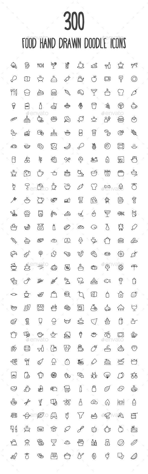 300 Food Hand Drawn Doodle Icons | How to draw hands ...