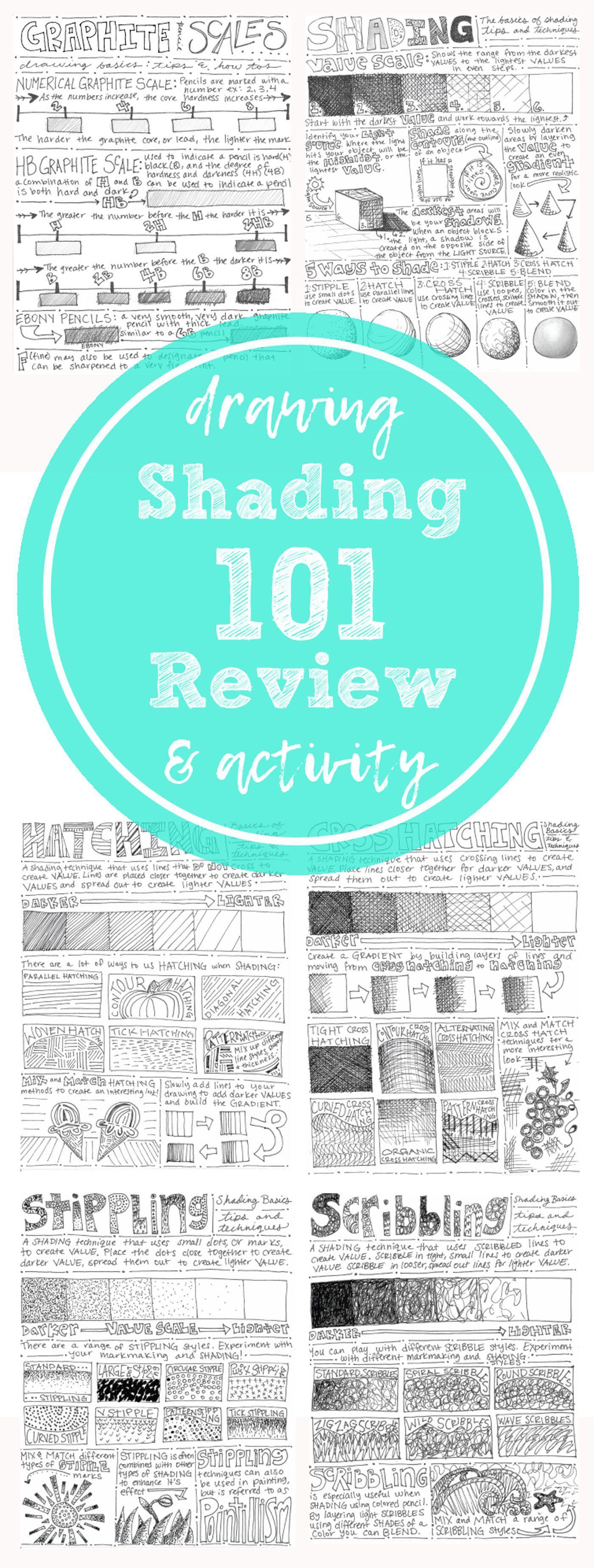 5 shading worksheets: hatching, cross-hatching, stippling ...